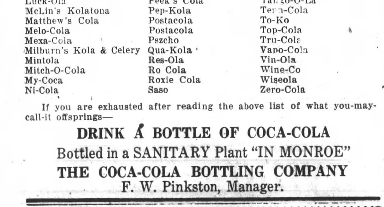 Coca Cola Ad Imatators The Monroe Journal N.C. August 15, 1919 8 (2).jpg