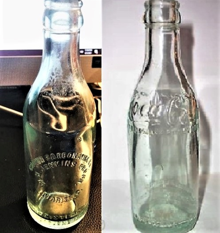 Crown Carbonating Co. Bottle and Coca Cola Bottle Comparison Both Possibly Marked with 1651.jpg