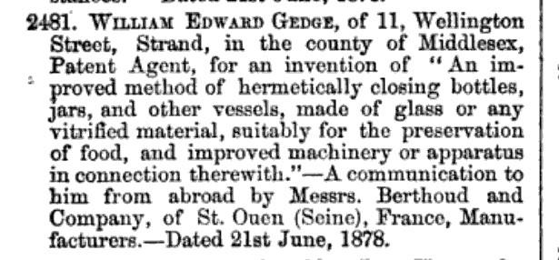 Gedge Berthoud Stopper Patent June 21, 1878 England Patent Gazette.jpg