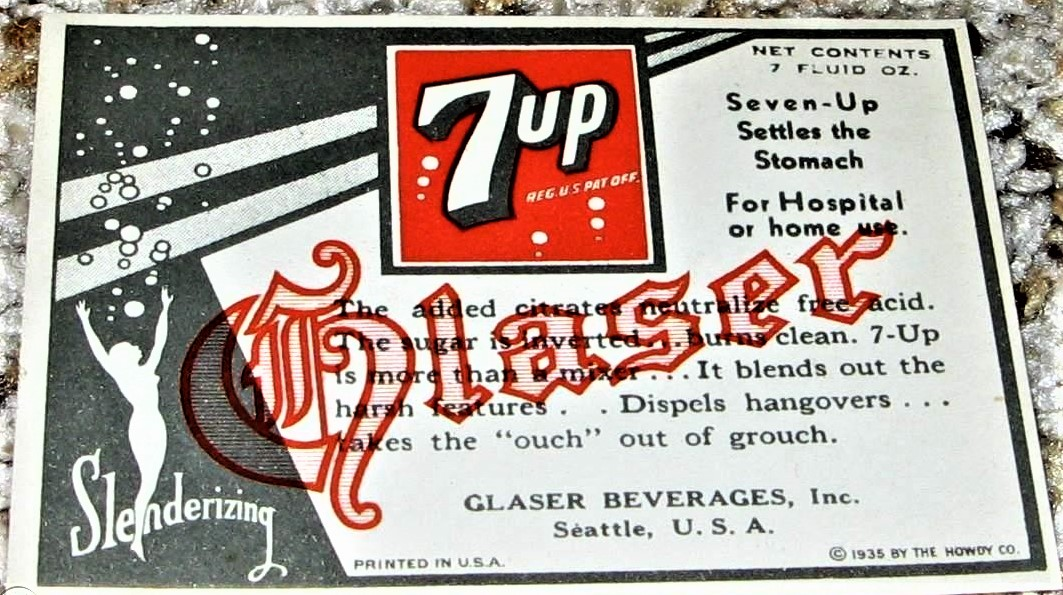 Glaser 7-Up Paper Label (C) 1935 By The Howdy Co..jpg
