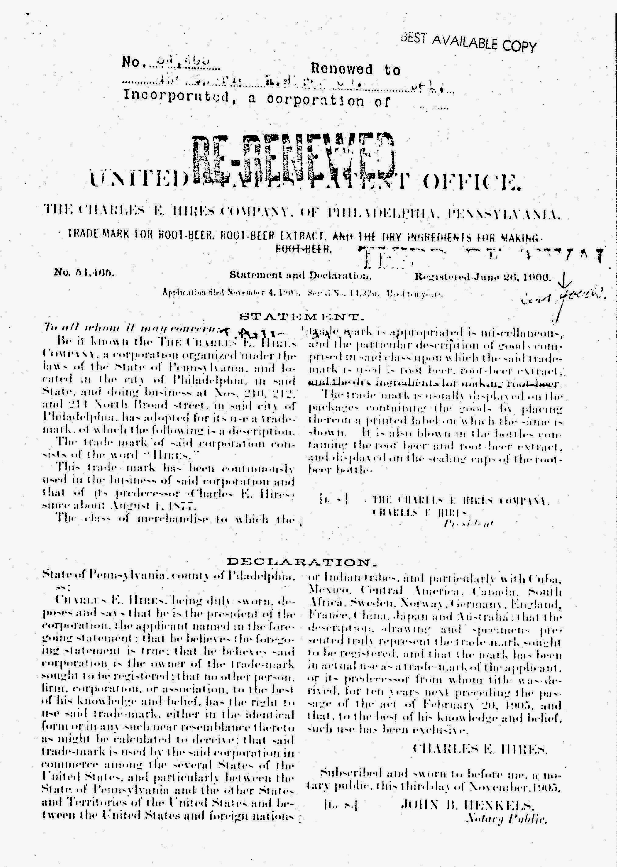 Hires 1906 Original Trademark Document Page Two (2).jpg