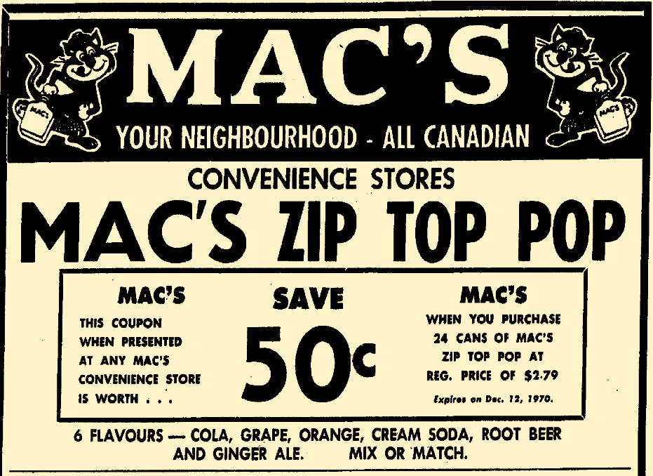 Mac's soda pop- Winnipeg Free Press , December 3, 1970.png