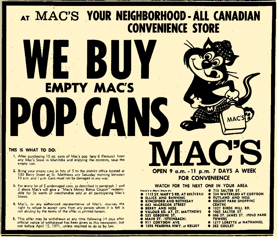 Mac's soda pop- Winnipeg Free Press , January 22, 1971.png