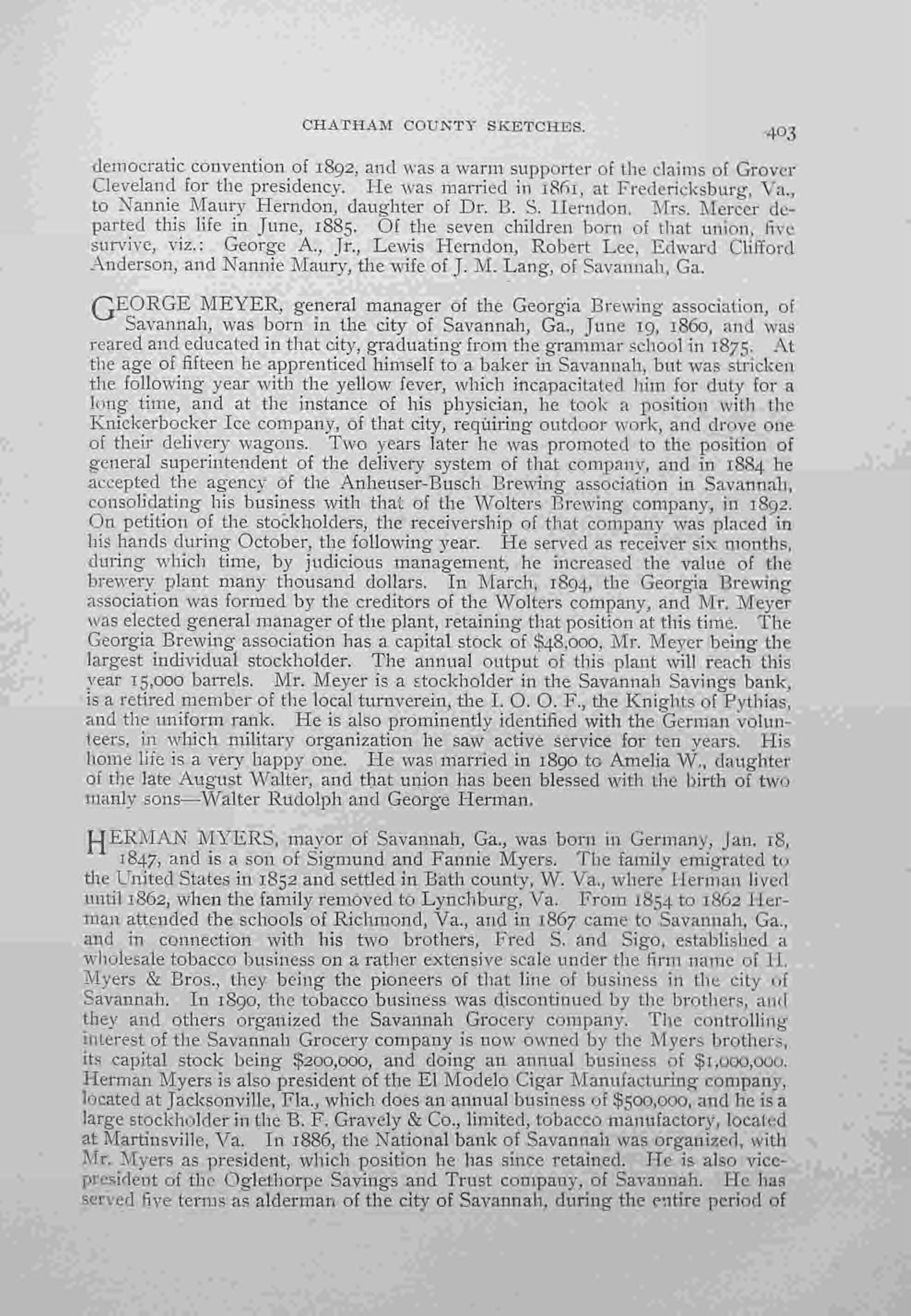 Meyer George History 1895 Georgia Memoirs Vol 2 Page 403.jpg