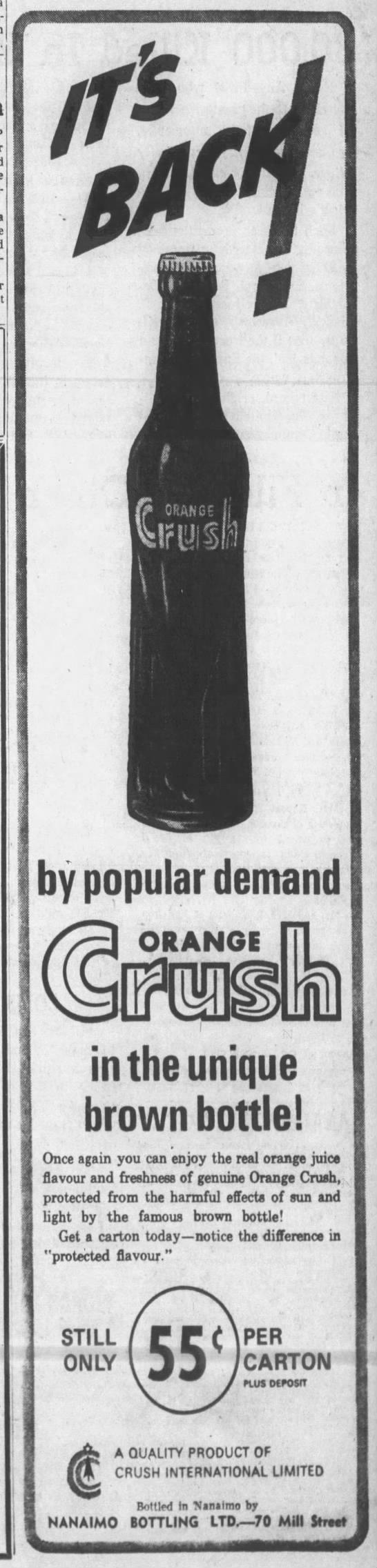 Orange Crush-back in the brown bottle-Nanaimo Daily News, 21 Jun 1965, Mon, Page 3.jpg