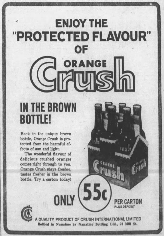 Orange Crush-back in the brown bottle- Nanaimo Daily News, 28 Jun 1965, Mon, Page 13 .jpg