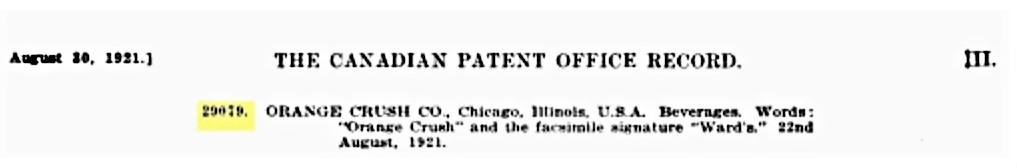 Orange Crush Canadian Patent August 22, 1921 Words  29079.jpg