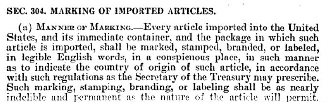 Tariff Act 1930 (original) Section 304 - Marked With Country of Origin.jpg