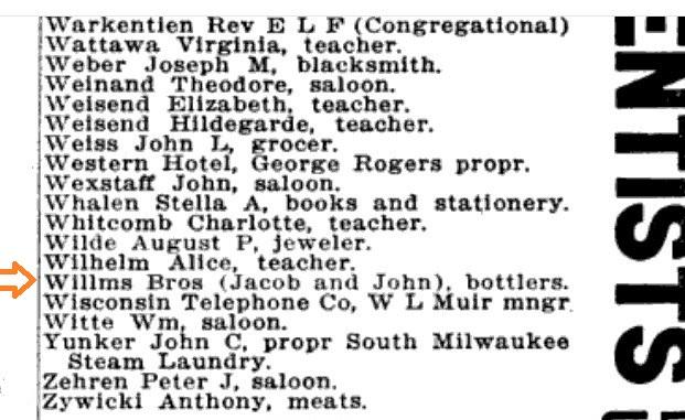 Willms Jacob and John 1911 Milwaukee, Wisconsin Directory Bottlers.jpg