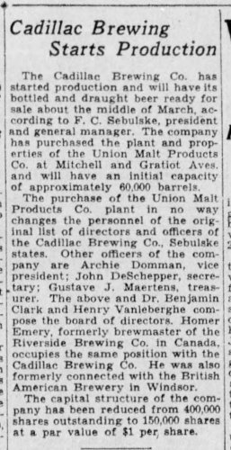 Cadillac Brewing Purchases Union Malt_Detroit_Free_Press_Michigan_Fri__Jan_26__1934.jpg